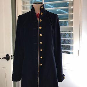 Soft Surrounding jacket coat winter velvet navy